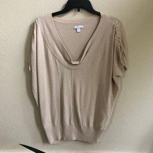NY&Co tan short sleeve sweater size M